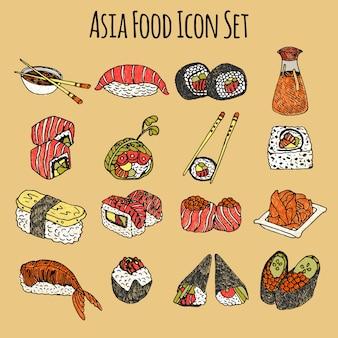 アジア料理のアイコンが色分けされて