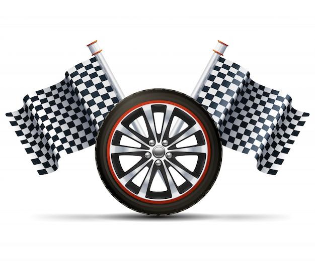 Гоночное колесо с флагами