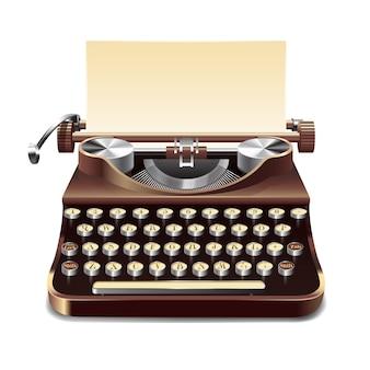 Пишущая машинка реалистичная иллюстрация