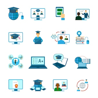 オンライン教育のアイコンフラット