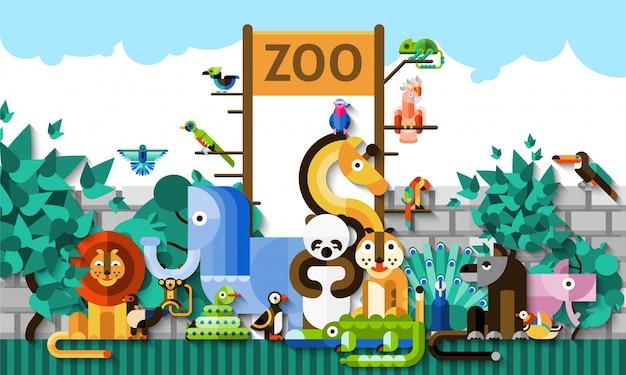 動物園の背景イラスト