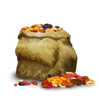 Сушеные фрукты в мешке