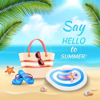 Летние каникулы фон с пляжной сумкой шляпу и шлепанцы на песке реалистично