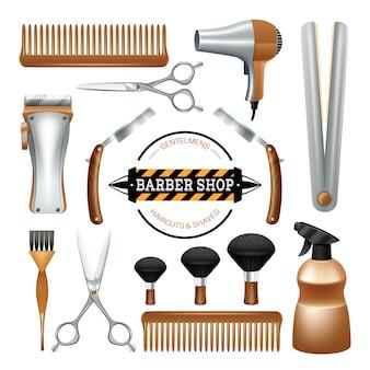 理髪店の標識とツールのはさみブラシの剃刀の色の装飾的なアイコンセット