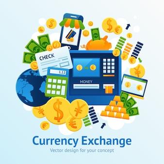 Иллюстрация обмена валюты