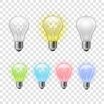 虹の透明な電球は背景を設定する
