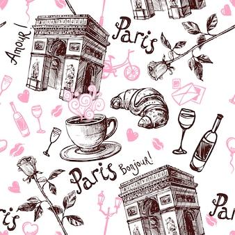 ロマンチックなパリのシームレスなパターン