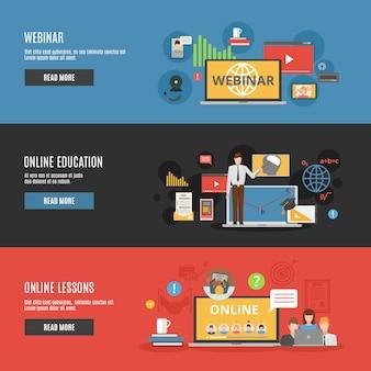 オンライン教育フラット水平バナー