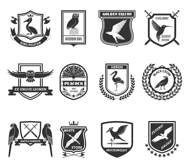 Птицы эмблемы коллекция черных иконок