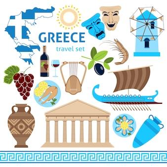 Греция символы туристический набор плоская композиция