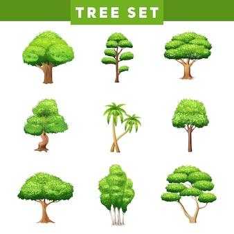 Коллекция плоских пиктограмм зеленых деревьев с различной листвой и формами коронок
