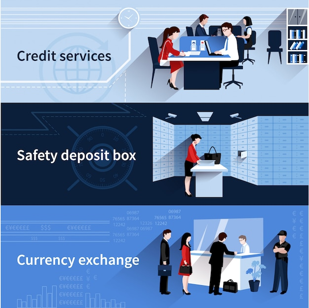 クレジットサービスと通貨交換のフラット要素で設定された銀行の人々のバナー