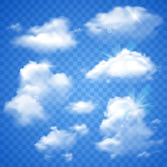 Прозрачные облака на синем