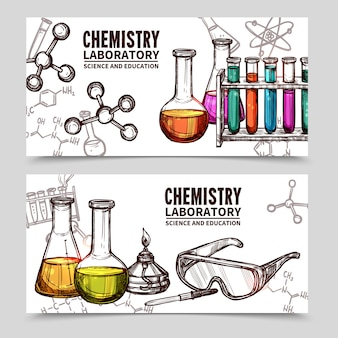 化学実験室スケッチバナー
