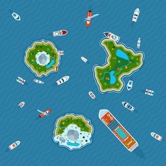島の周りの船のトップビュー