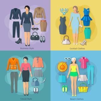 ビジネスカクテルのビーチとカジュアルスタイルのアイコンの女性の服のコンセプトの正方形の組成はフラットに設定
