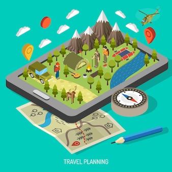 ハイキングとキャンプのコンセプト