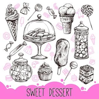 甘いデザートセット
