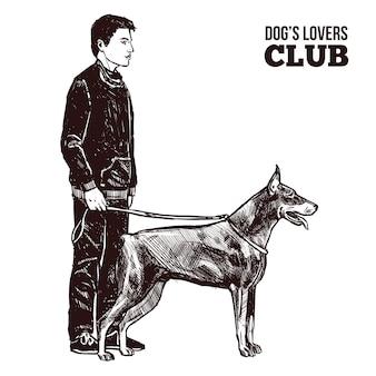 男と犬のシルエット