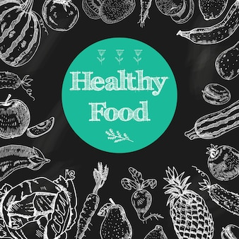 Здоровая диета питание доски с фруктами и овощами