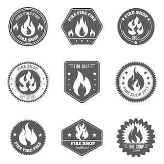 Огненный магазин эмблемы набор иконок черный
