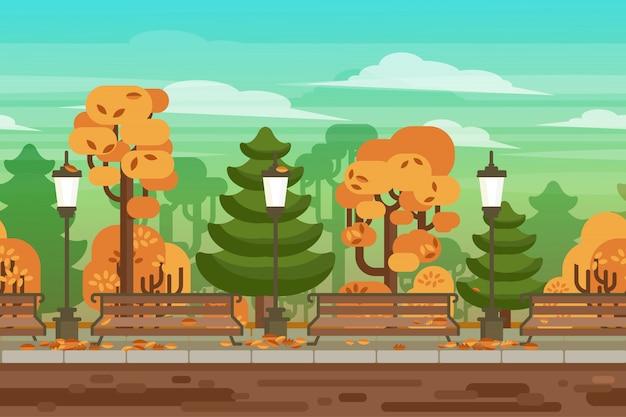 ゲームのシームレスな秋の風景の公園の背景
