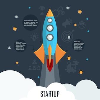 ビジネススタートアップロケット打ち上げフラットポスター