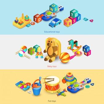 おもちゃのアイソメトリックバナー