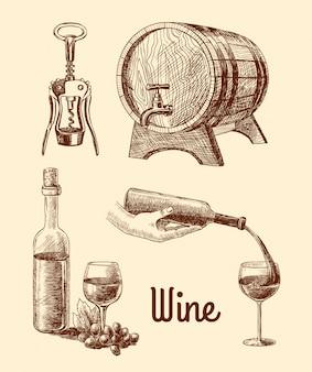 描かれたワイン、手