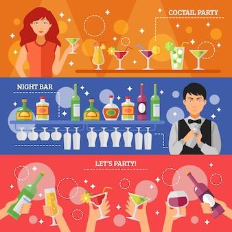 Коктейльная вечеринка ночной бар плоские баннеры