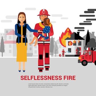 Пожарный спасающий ребенок