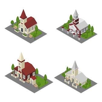教会の建物アイソメ