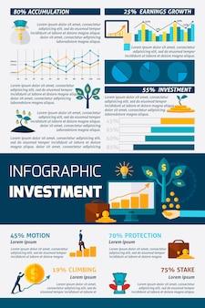 投資フラットカラーインフォグラフィック
