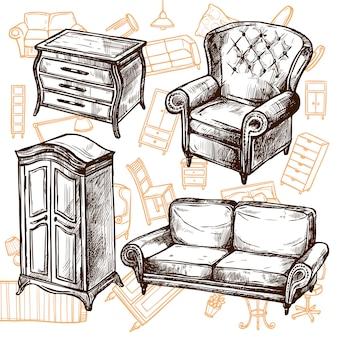 家具スケッチシームレスコンセプト
