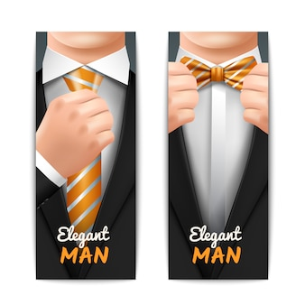 エレガントな男の縦のバナーは、ネクタイとボウタイを現実的に設定