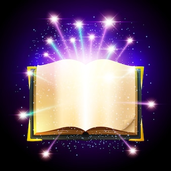 Открытая книга с пустыми листами и яркими волшебными искрами