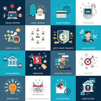 Концепция банковского маркетинга плоский набор значков