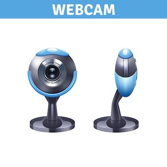 フロントビューとサイドビューのウェブカメラ
