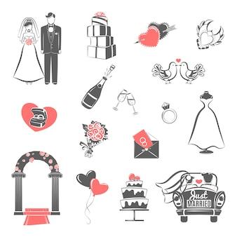 Концепция свадьбы черный красный набор значков