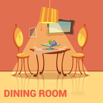 テーブルチェアと絵の漫画を持つダイニングルームレトロデザイン