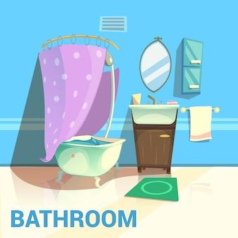 バスルームレトロなデザインのバスルームの水と石鹸の漫画