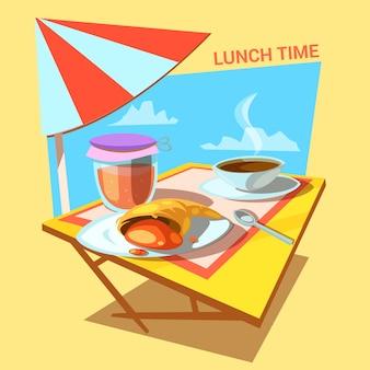 レトロなスタイルのテーブルの上にクロワッサンパン屋ジャムとコーヒーカップとランチタイム漫画