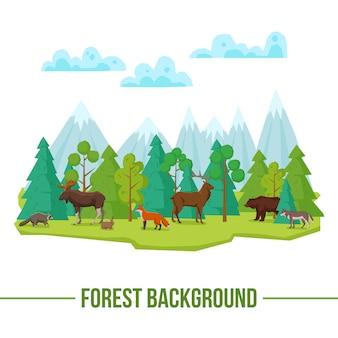 森林の動物の背景