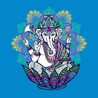 華やかな曼荼羅を持つガネーシャ