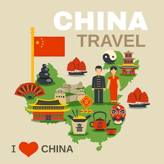 中国文化の伝統旅行代理店ポスター