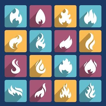 オリンピックの聖火のアイコンのコレクション