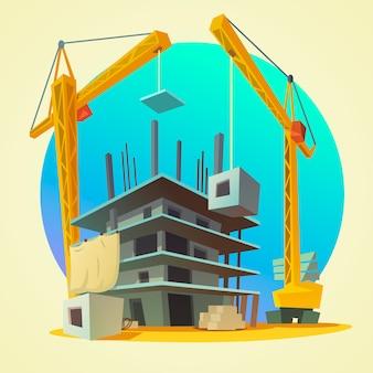 レトロなスタイルの建設機械の漫画と家の建物のコンセプト