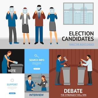 政治選挙のフラットバナーの構成