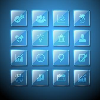 ウェブインフォグラフィックビジネスサインを持つ透明ガラス板のアイコンセット