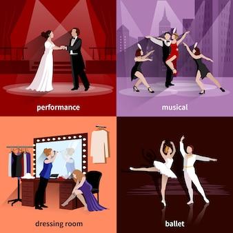 Люди на театральных сценах исполняют музыкальный балет и в раздевалке